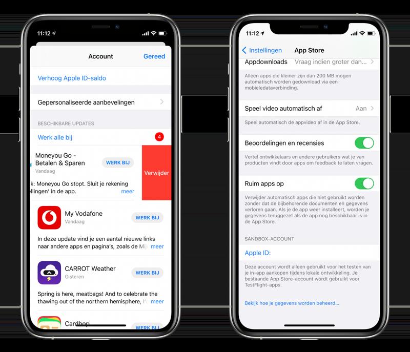Apps verwijderen door te vegen via Updates.