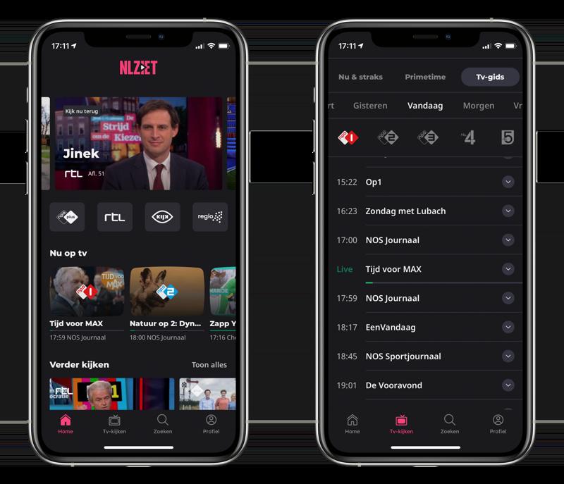 NLZIET 5 op iPhone met startscherm en tv-gids.