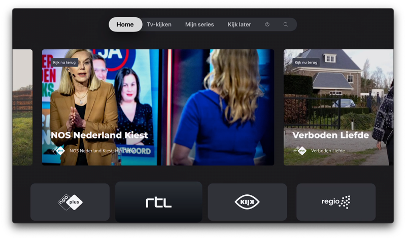 NLZIET 5 op de Apple TV met startscherm.