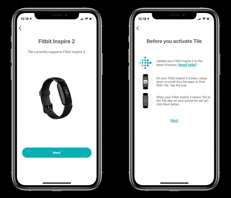 Tile-app met Fitbit Inspire 2.