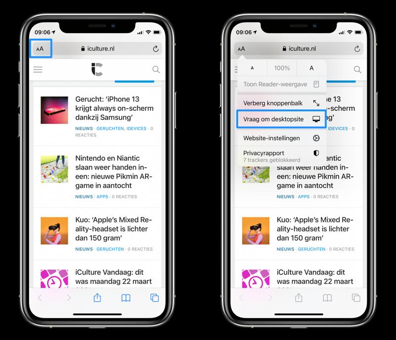 Op de iPhone in Safari de desktopsite opvragen.