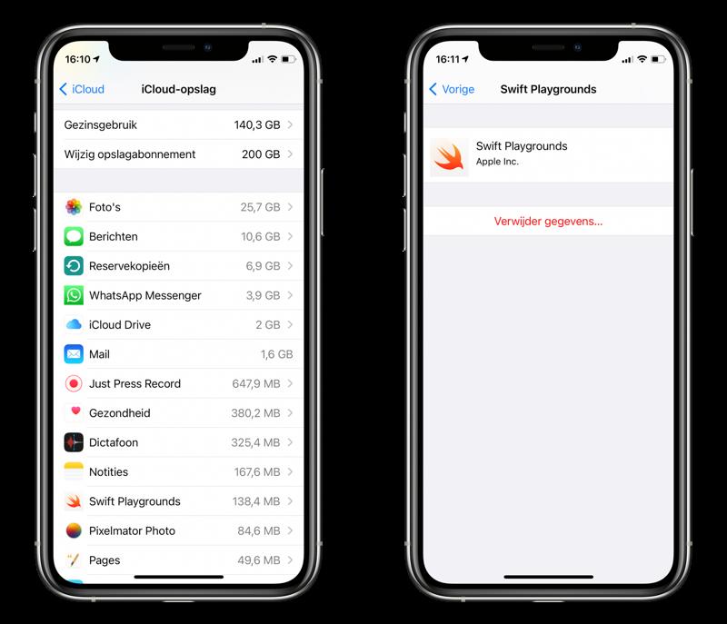 Appgegevens uit iCloud verwijderen vanaf de iPhone.