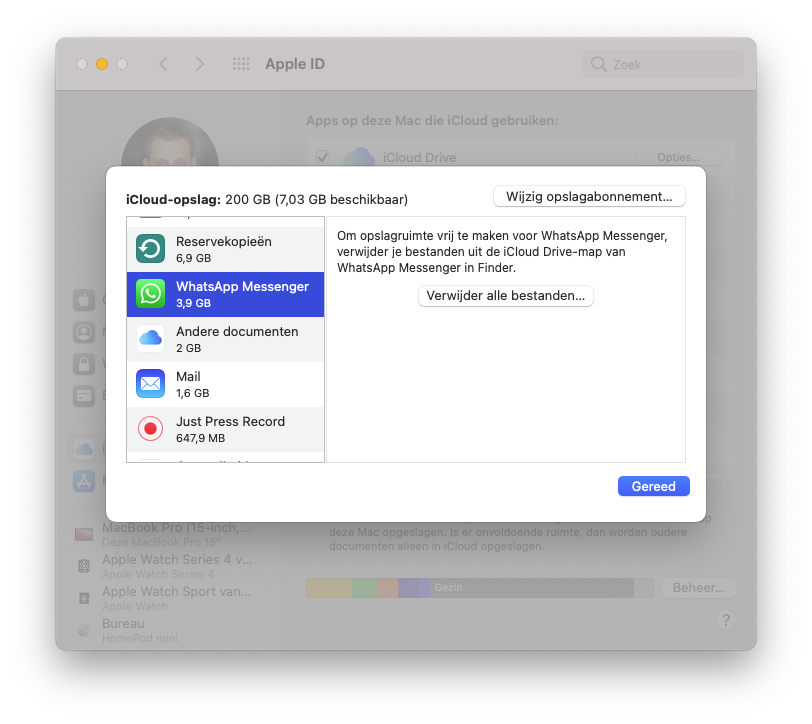 iCloud appgegevens wissen vanaf de Mac.