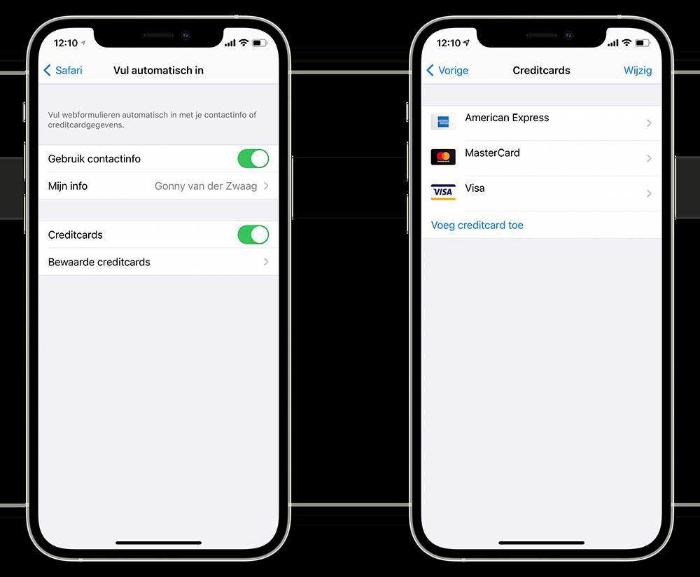 Creditcard beheren in iCloud sleutelhanger
