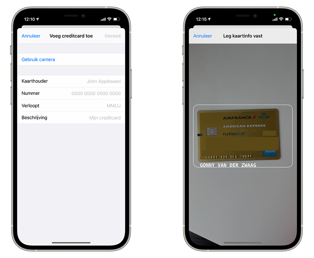Creditcard toevoegen in iCloud sleutelhanger