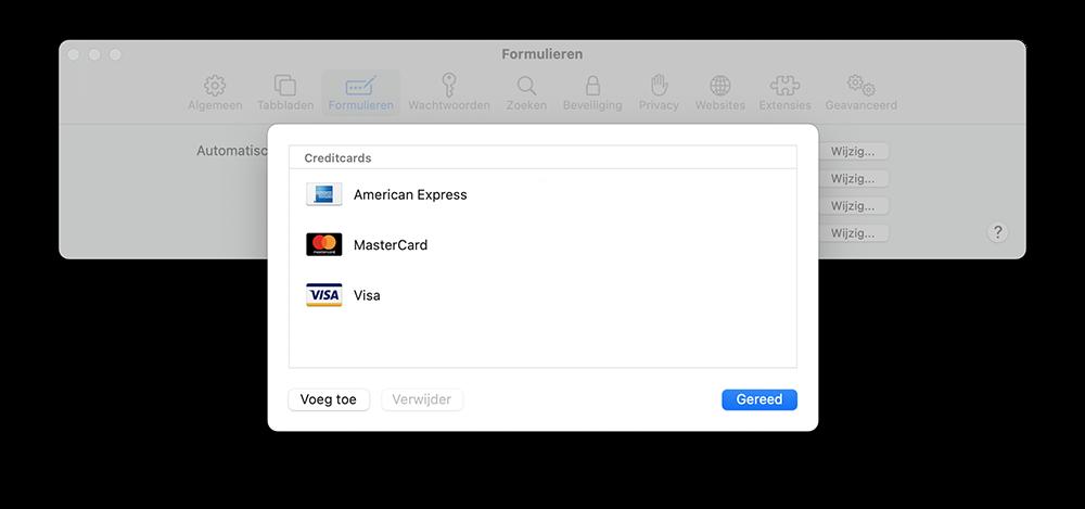 Creditcards op de Mac