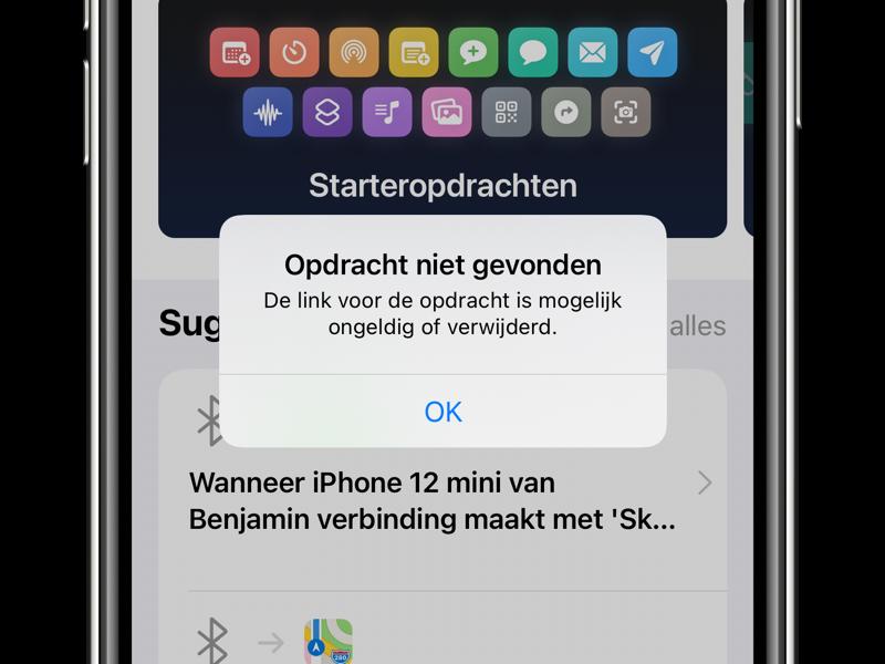 Opdracht niet gevonden-melding van gedeelde Siri Shortcuts via iCloud-link.