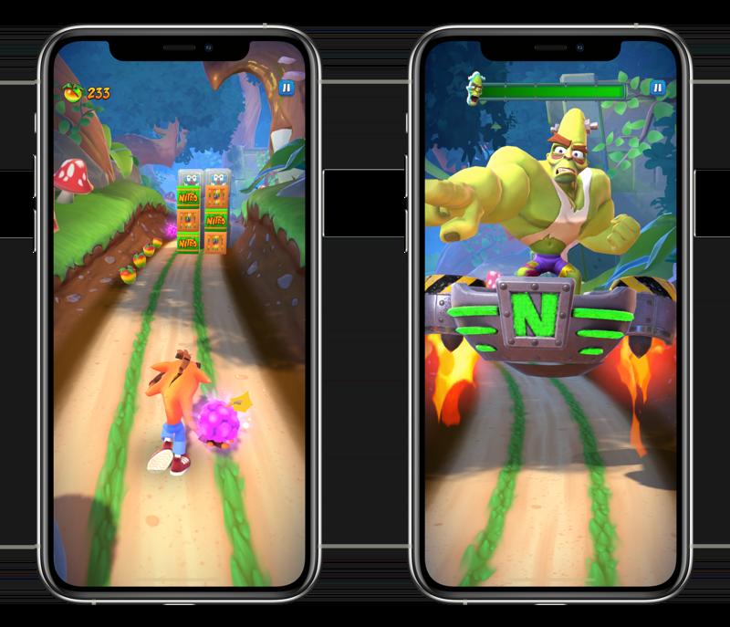 Crash Bandicoot: On the Run level in de jungle.