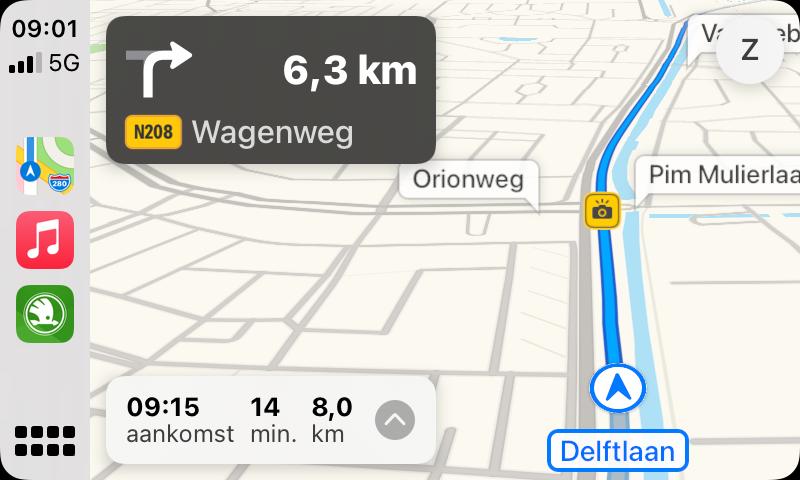 Apple Kaarten met flitser in Nederland in CarPlay.