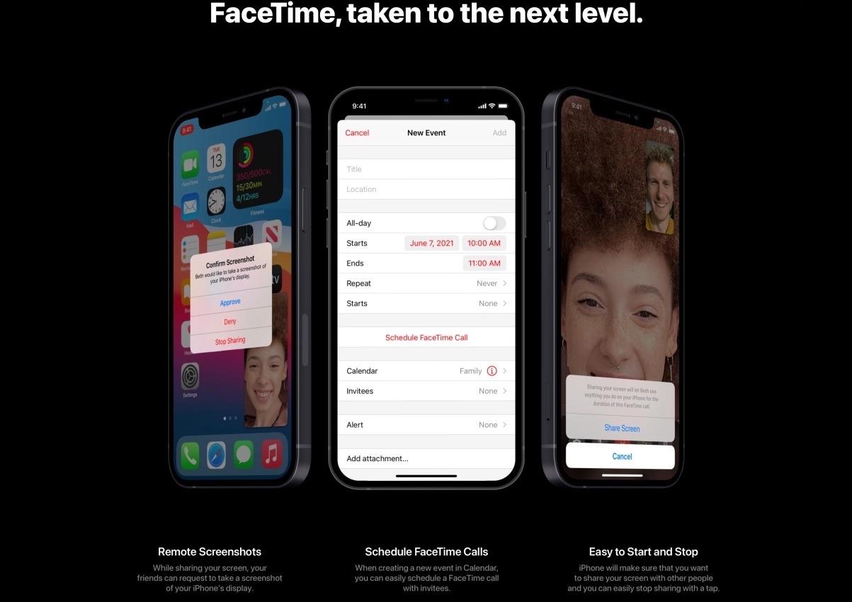 iOS 15-concept: FaceTime inplannen.