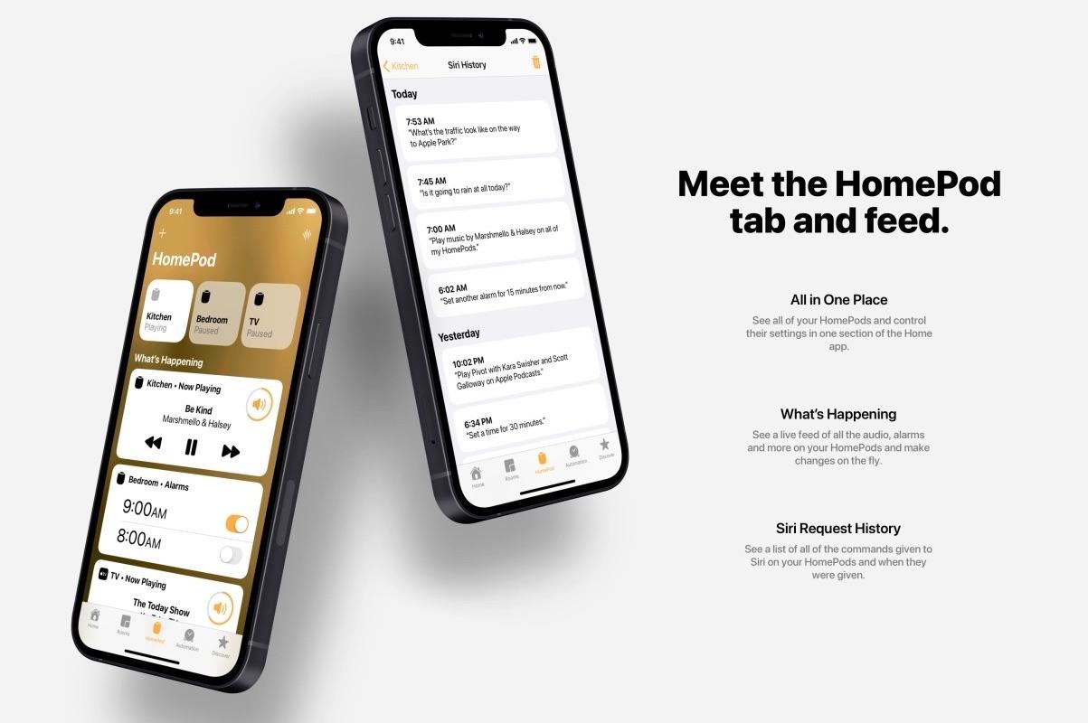 iOS 15-concept met HomePod-tab in Woning-app.
