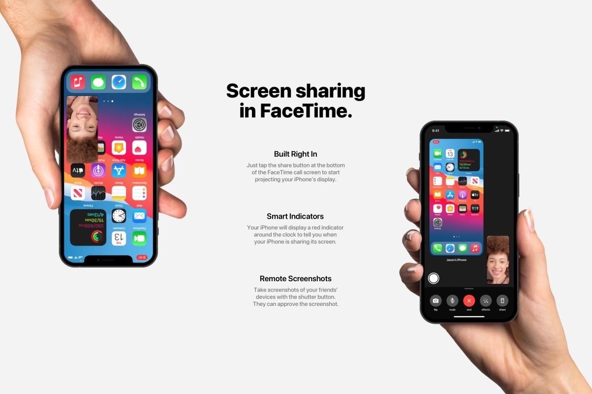 Schermdeling voor FaceTime in iOS 15-concept.
