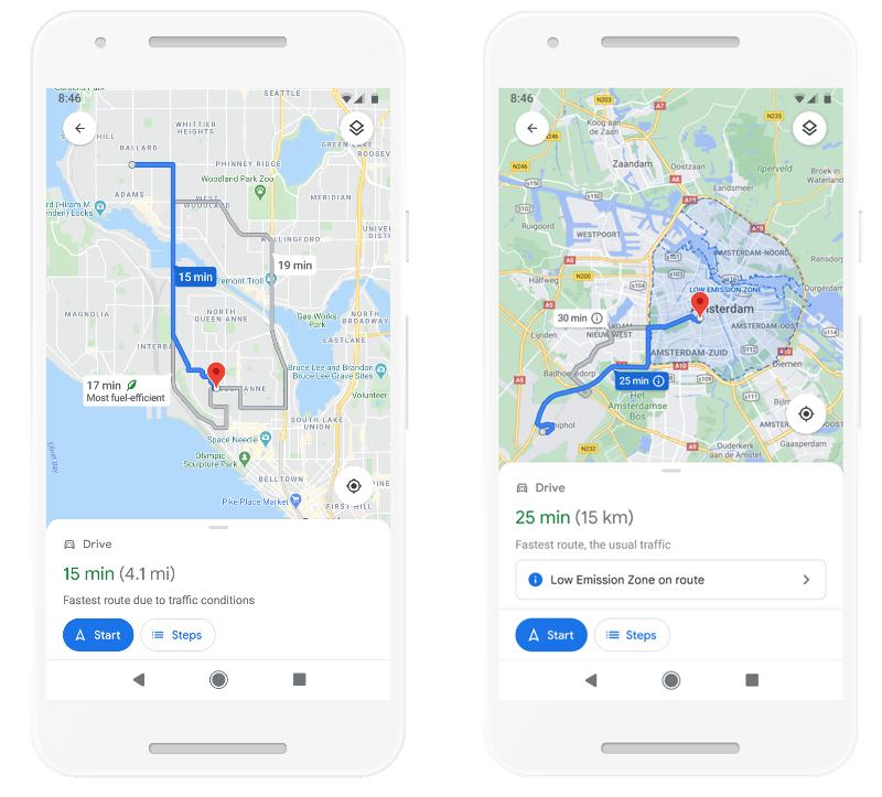 Google Maps: eco-vriendelijke routes en milieuzones.