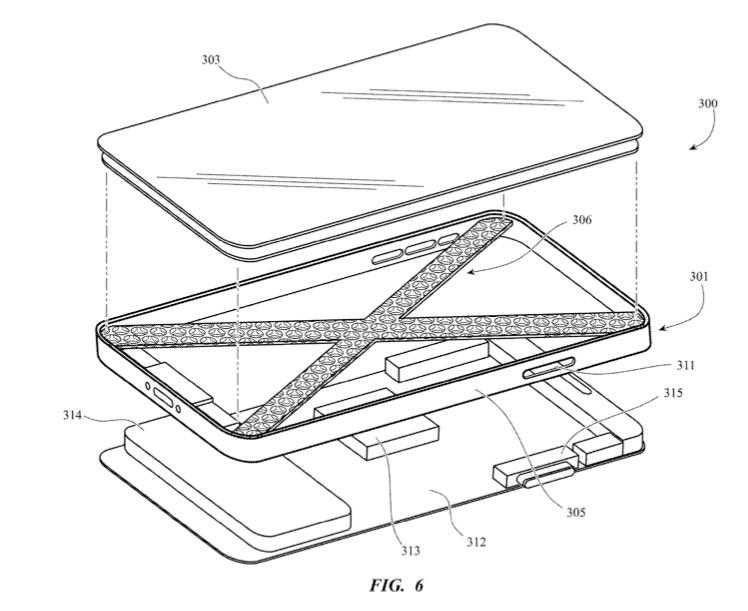 Binnenkant van iPhone met kaasrasp design in patent.