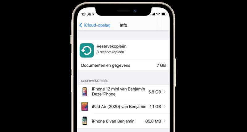 Op de iPhone de opslag van iCloud-backups bekijken.