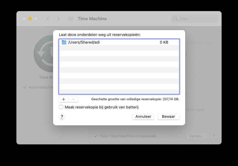 Time Machine-backup: mappen overslaan.