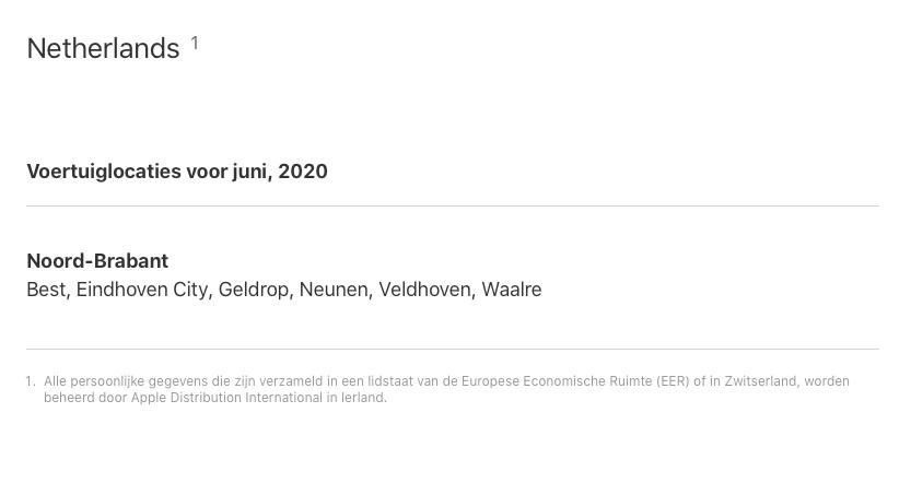 Apple Kaarten auto's in Nederland in juni 2020.