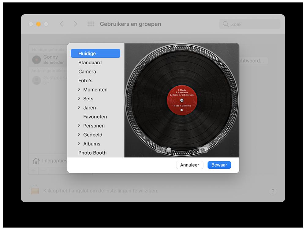 Elpee als gebruikersicoon op de Mac