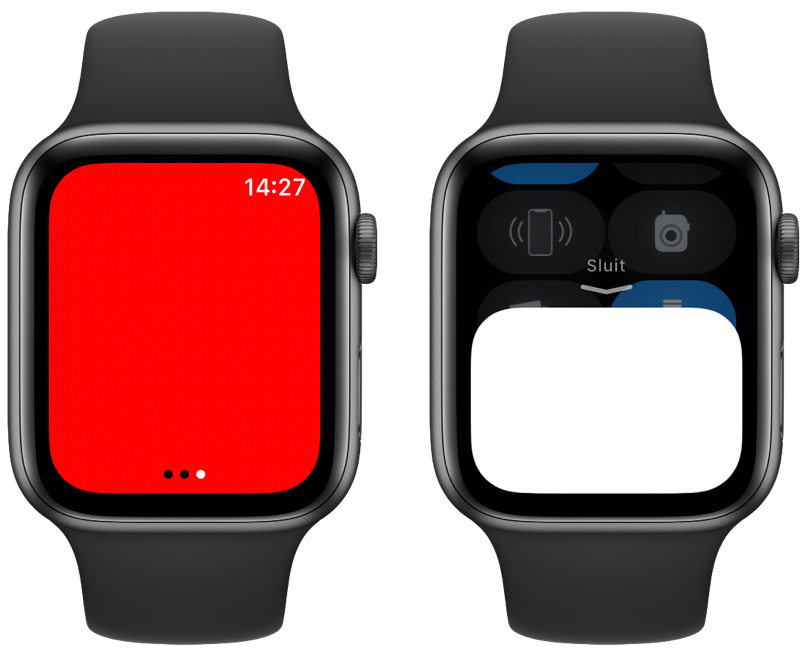 Apple Watch zaklamp: rood licht en afsluiten.
