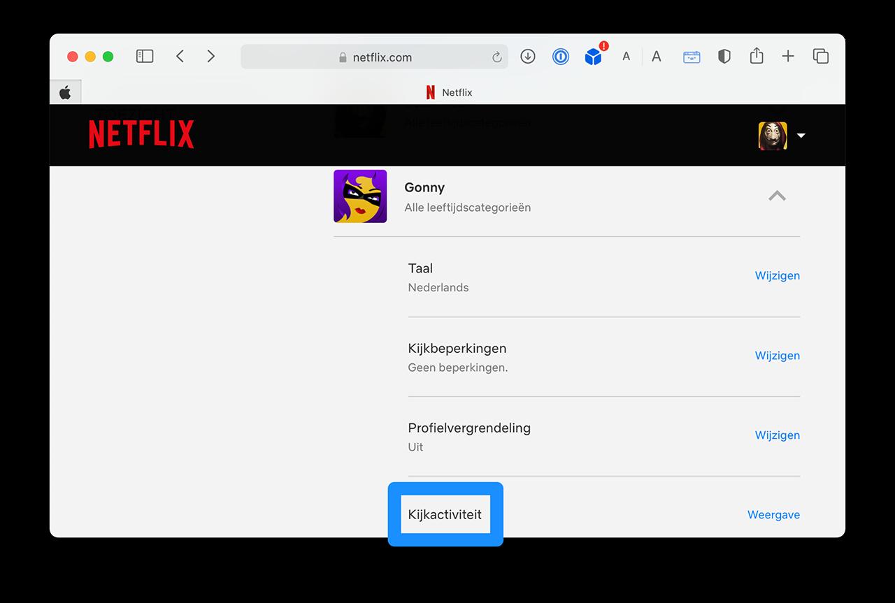 Netflix kijkgeschiedenis