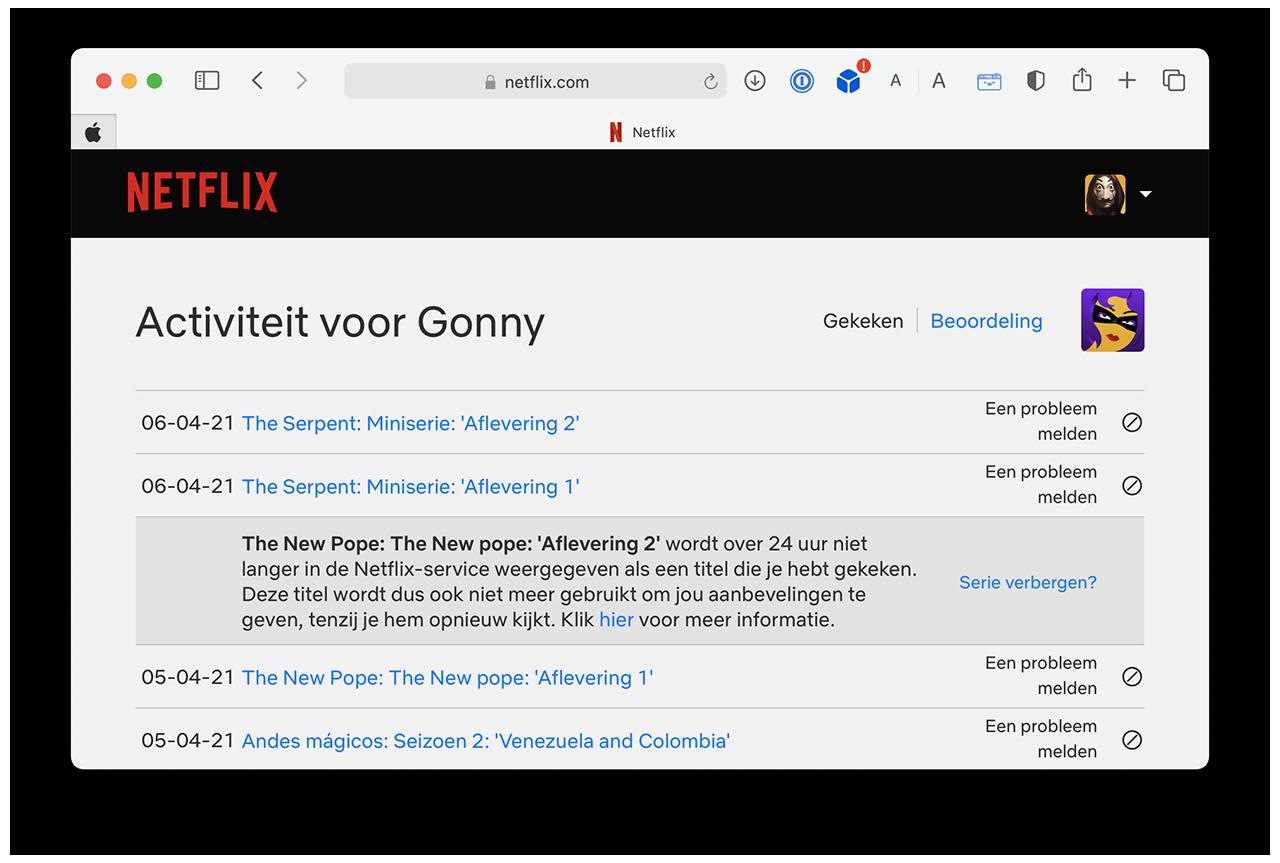 Netflix kijkgeschiedenis verwijderen