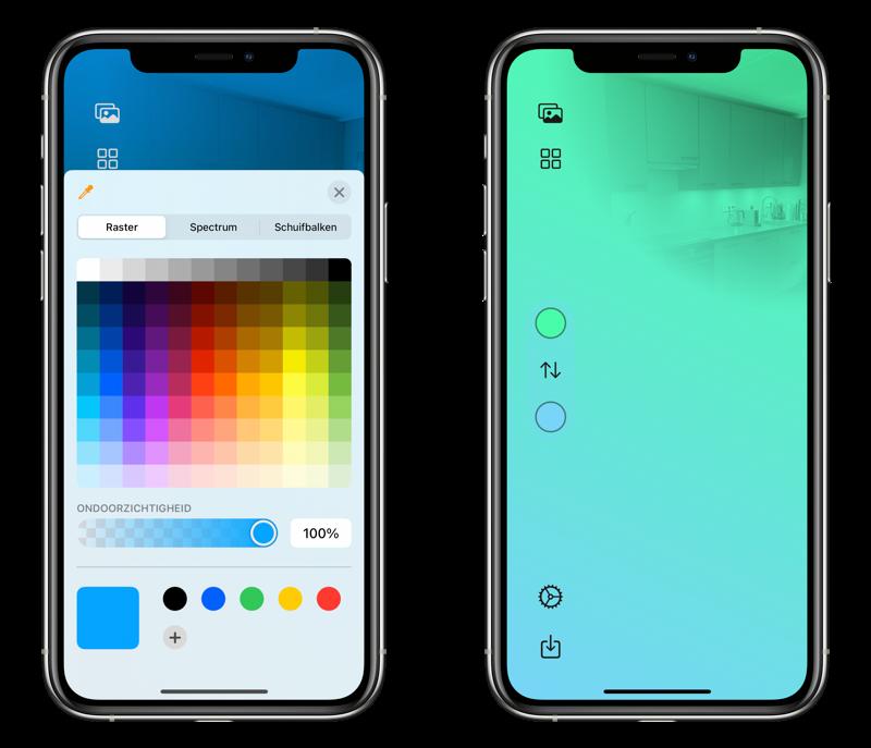 Kleur kiezen in HomePaper app.