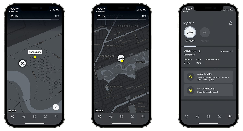 Kaart in VanMoof-app