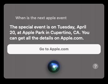 Siri verklapt: Apple event op 20 april.