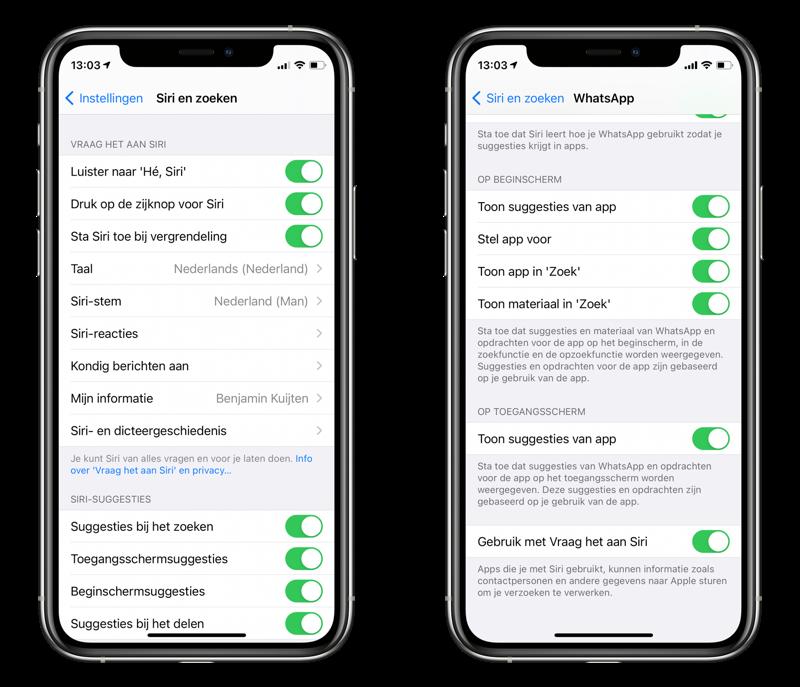 WhatsApp Siri toegang geven.