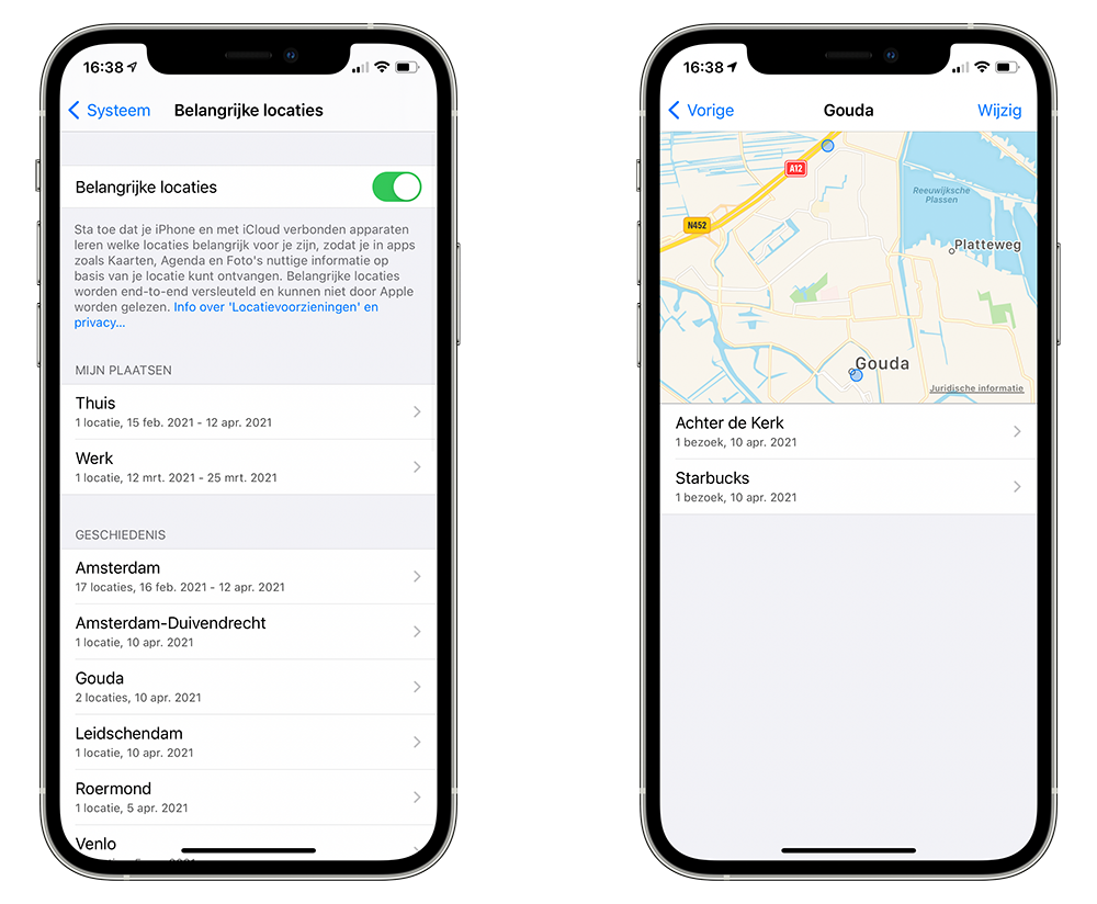 Apple Kaarten: belangrijke locaties