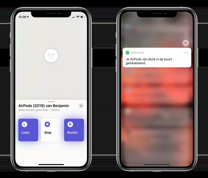 Zoek mijn AirPods: geluidje afspelen en melding van locatie.