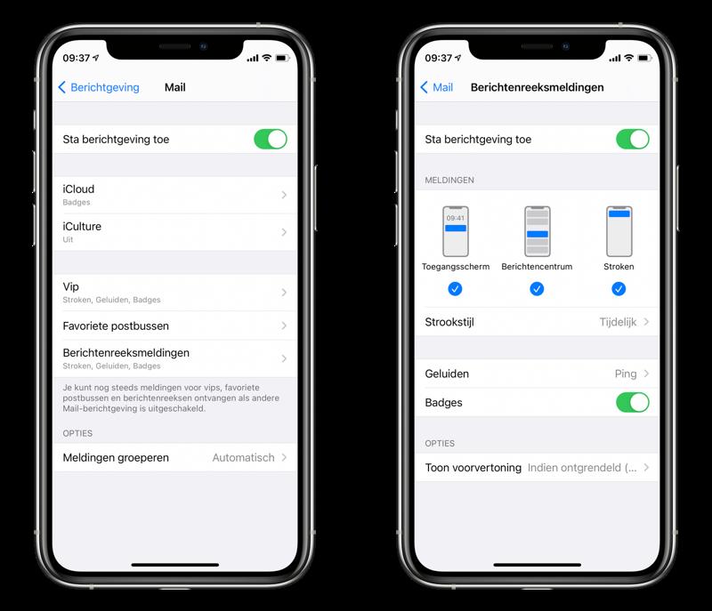 Instellingen voor de Mail-app: notificaties voor berichtenreeksen.