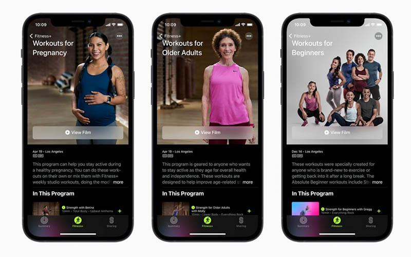 Fitness+ workouts voor ouderen, zwangere vrouwen en beginners