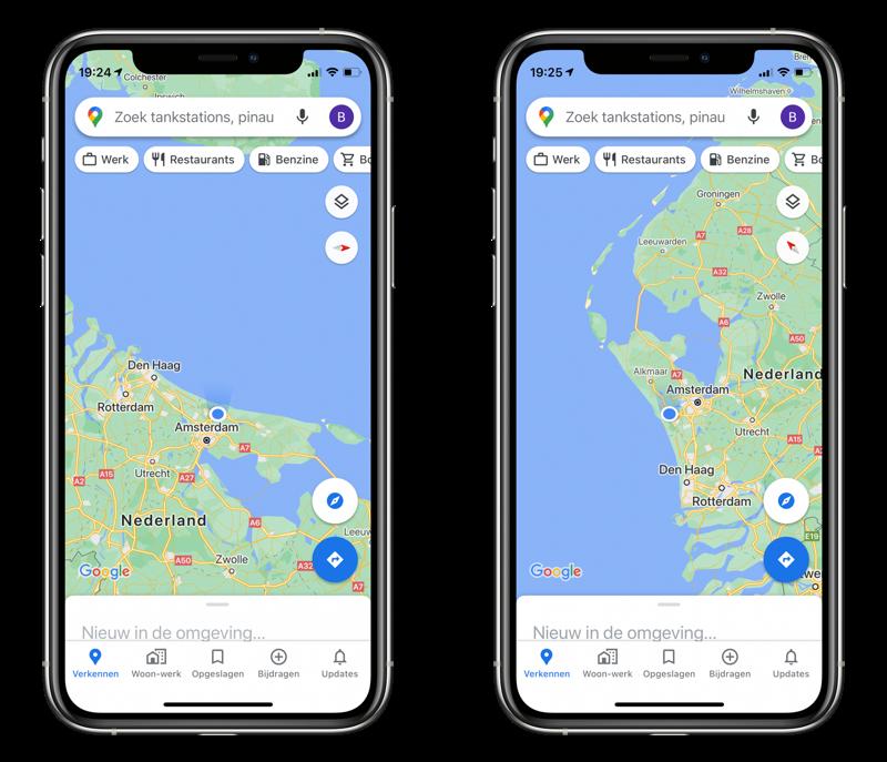 Kompas in Google Maps.
