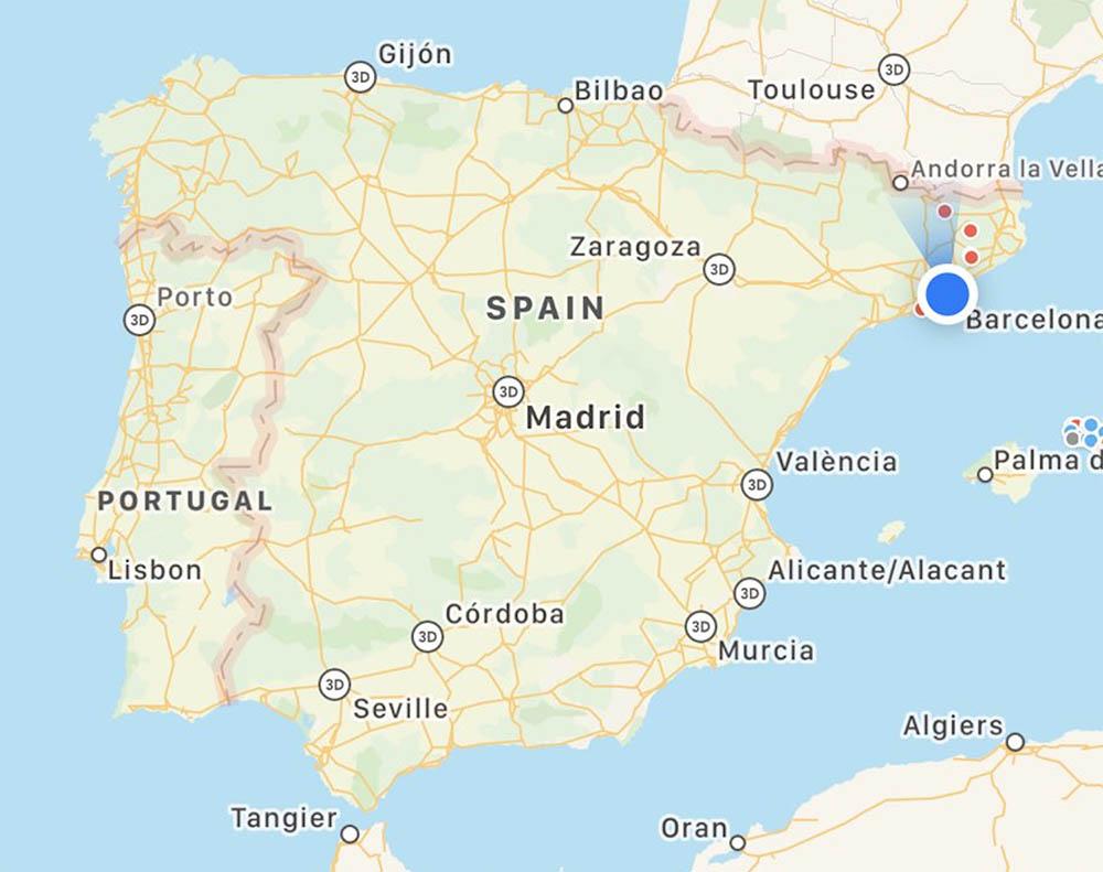 Apple Kaarten in Spanje en Portugal
