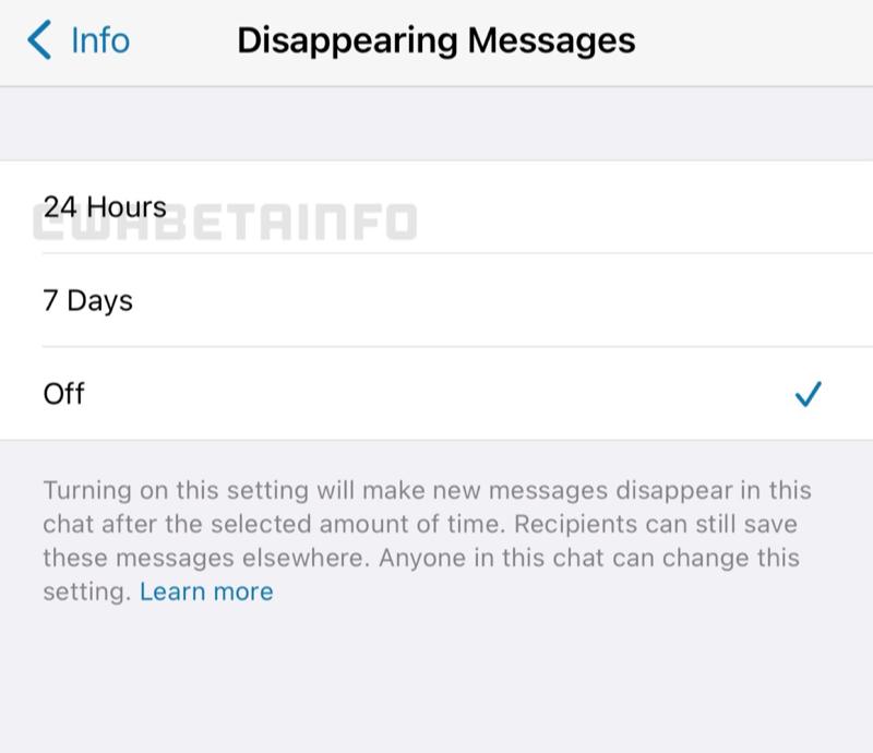 Instelling voor WhatsApp bericht dat na 24 uur verdwijnt.