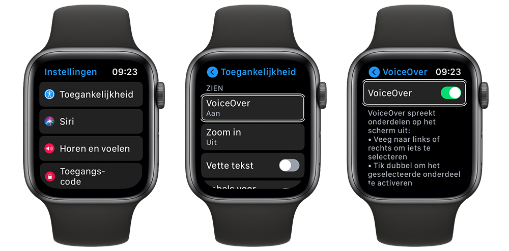 VoiceOver op Apple Watch