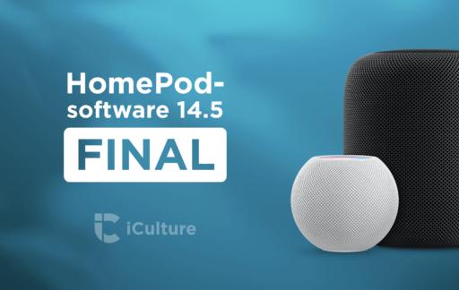 HomePod software-versie 14.5 blauw.