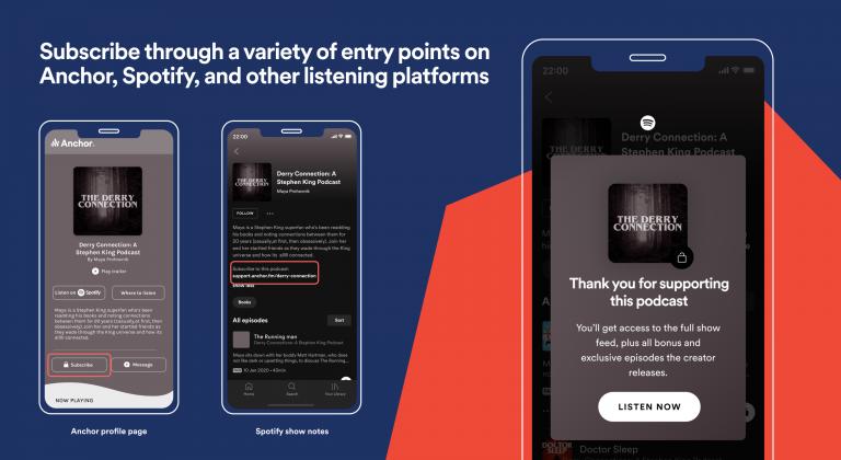 Abonneren op betaalde podcasts via Spotify.