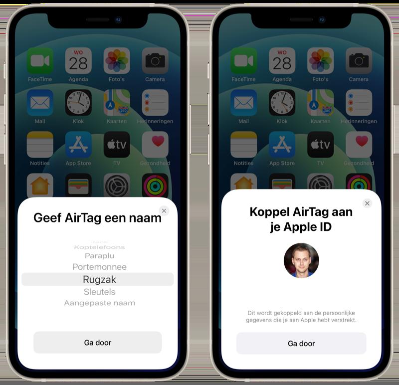 AirTag instellen en koppelen aan Apple ID.