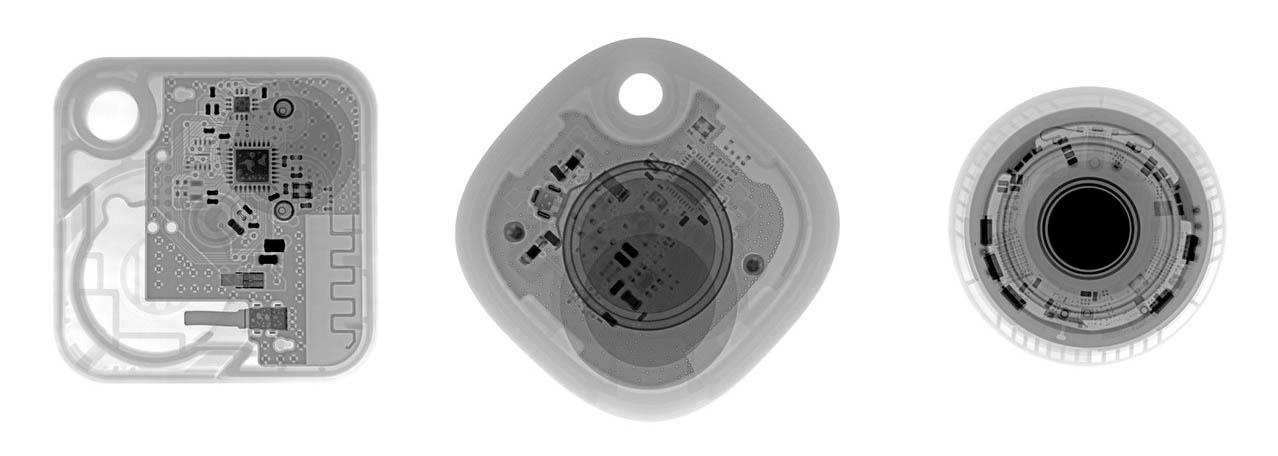 Röntgenfoto van AirTag, Tile Mate en Samsung SmartTag