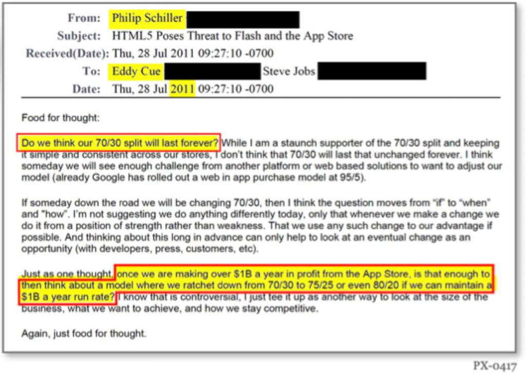 E-mail van Phil Schiller aan Eddy Cue in de rechtszaak tussen Apple en Epic Games.