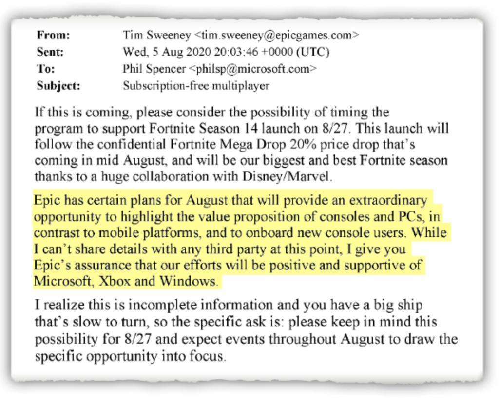 E-mail van Tim Sweeney naar Microsoft in de rechtszaak tussen Apple en Epic Games.