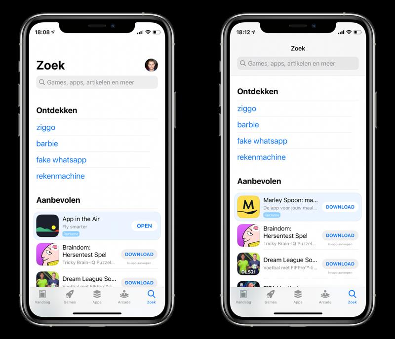 App Store reclame in Zoek-tabblad bij Aanbevolen apps.