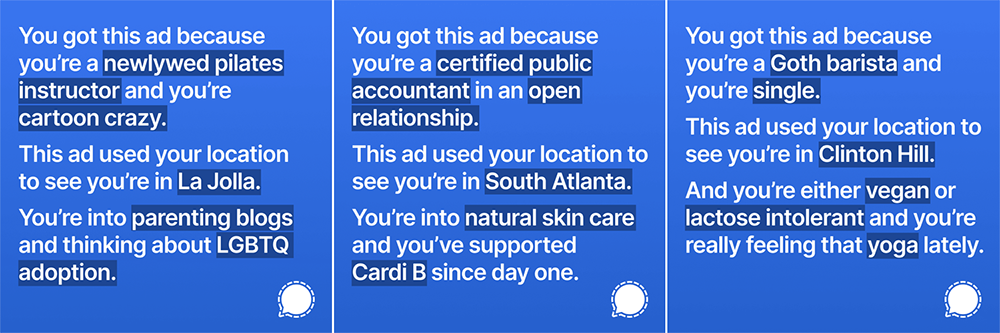 Signal reclame op Instagram