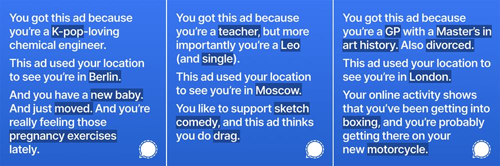 Signal reclame met Facebook-data