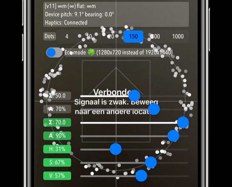 Standaard instellingen in verborgen AirTag menu voor ontwikkelaars.