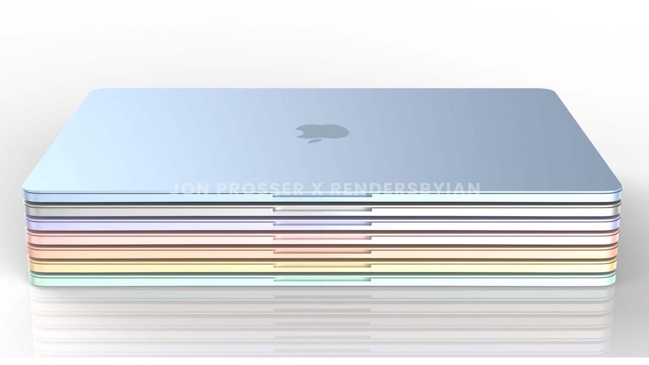 MacBook Air 2021 render: stapel in zeven kleuren.