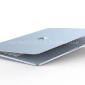 MacBook Air 2021 render in het blauw met klep geopend.