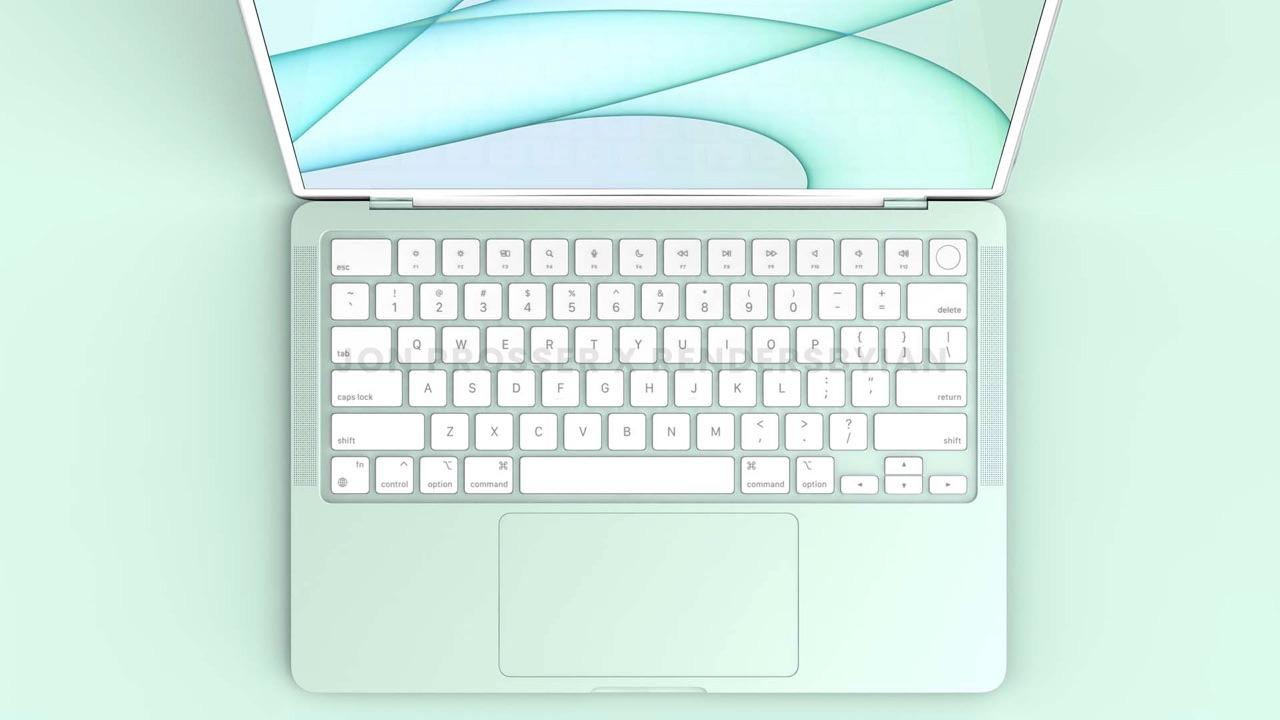 MacBook Air 2021 render met toetsenbord.